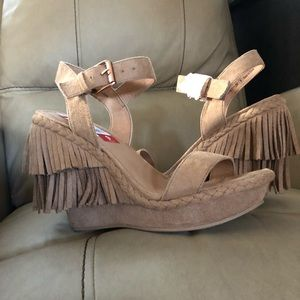 Brand new Boho wedge suede heels by Not Rated